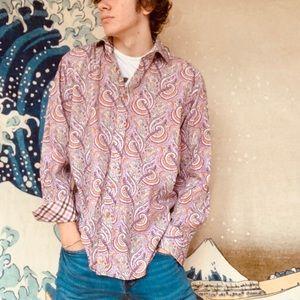 Thomas Dean pink tone paisley shirt Large